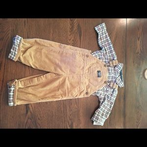 NWT OshKosh Overalls Outfit with long sleeve shirt